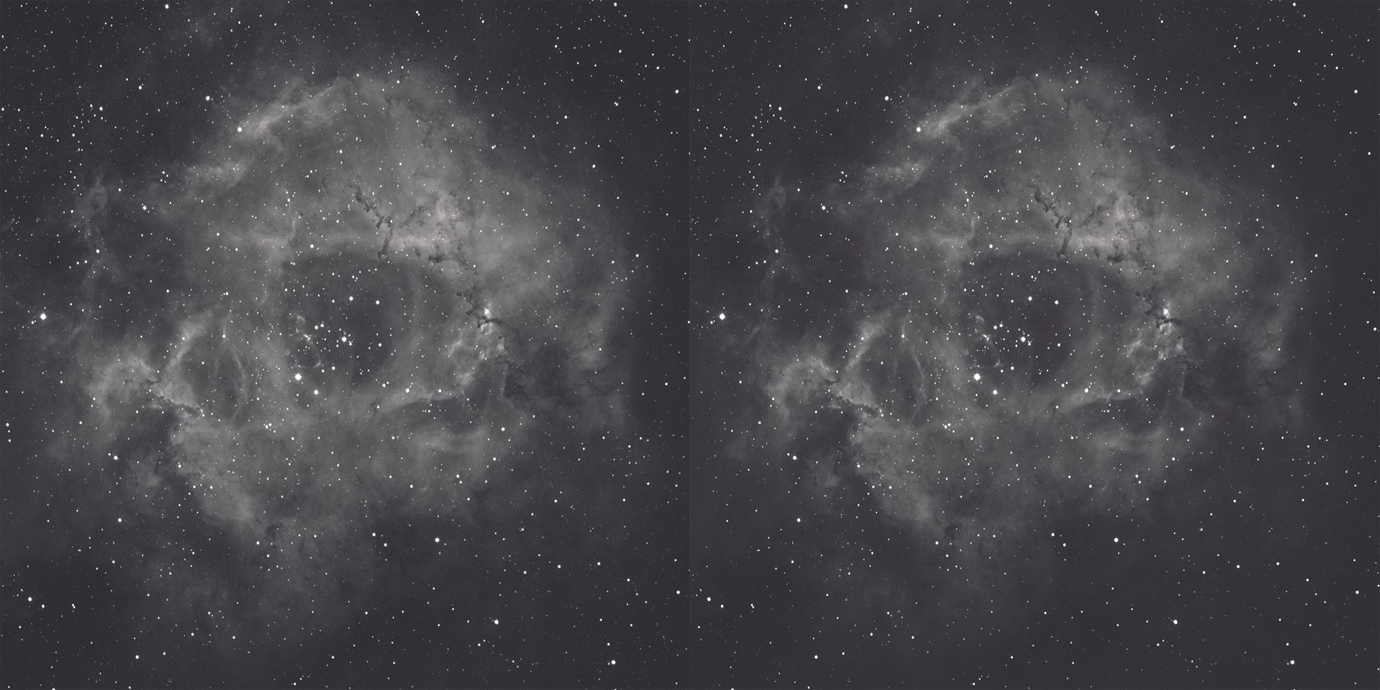 The Rosette Nebula in hydrogen-alpha, before dark frame calibration (left) and with reduced thermal noise after it has been applied (right). Credit: Steve Richards