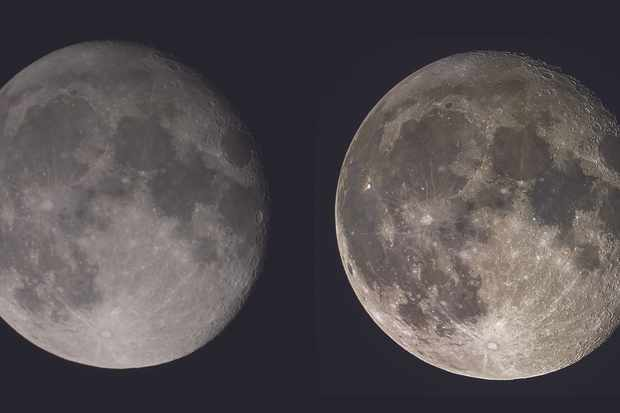 Left: Mary's starting image of the Moon, taken with a Canon EOS 1100D DSLR through an 8-inch Ritchey-Chrétien with focal-reducer. Right: Mary's final edited shot, showing much greater distinction between the lunar highlands and maria. Credit: Mary McIntyre.