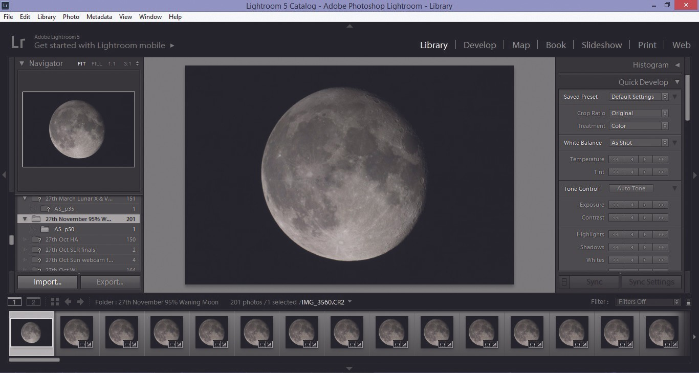 Select the images you want to process with Import; make sure you are on the Library tab. Credit: Mary McIntyre