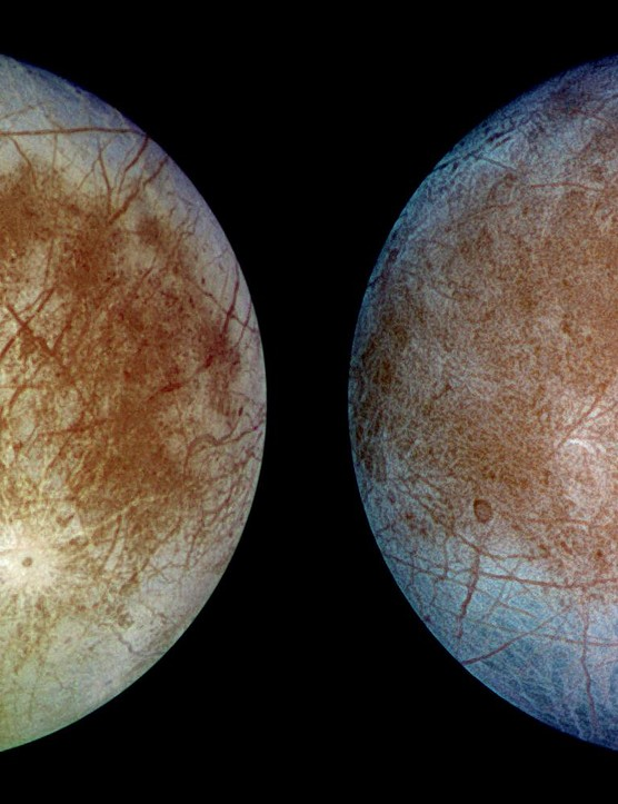 Two views of Jupiter's icy moon Europa. Dark brown areas represent rocky material while bright plains are a mixture of coarse and fine ice. Credit: NASA/JPL/DLR
