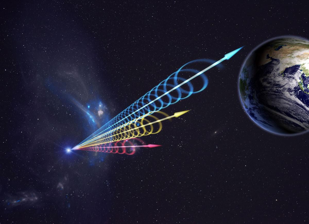 An artist's impression of a fast radio burst. Colours represent the burst's varying wavelengths. Long wavelengths (red) arrive seconds after short wavelengths (blue). Credit: Jingchuan Yu, Beijing Planetarium