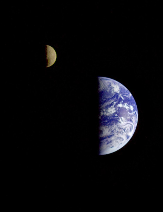 Look familiar? This is Earth and its Moon, as seen by the Galileo spacecraft on its journey to Jupiter. The image was taken from a distance of about 6.2 million km. Credit: NASA