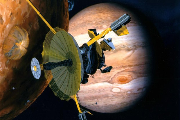 An artist's impression of the Galileo spacecraft at Jupiter. Credit: NASA