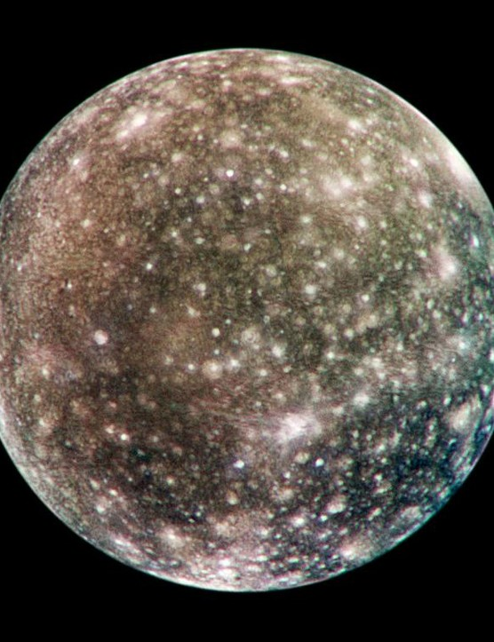 An image of Jupiter's moon Callisto: the only complete global colour image of the moon obtained by the Galileo spacecraft. It was captured in May 2001. Credit: NASA/JPL/DLR