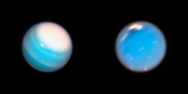 Images of Uranus (left) and Neptune (right) captured by the Hubble Space Telescope. Credit: NASA, ESA, A. Simon (NASA Goddard Space Flight Center), and M.H. Wong and A. Hsu (University of California, Berkeley)