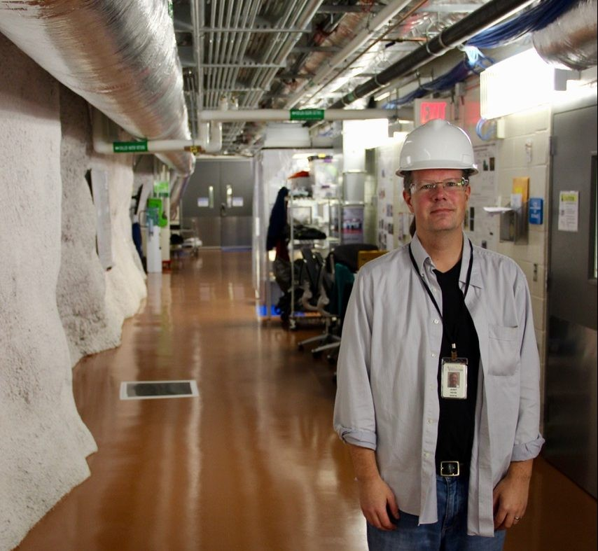 Dr Jaret Heise pictured underground at the Sanford facility. Credit: Nick Hubbard, Sanford Underground Research Facility