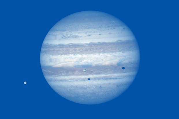 View a double transit of Jupiter with moons Io and Europa on 24 October. Credit: Pete Lawrence.