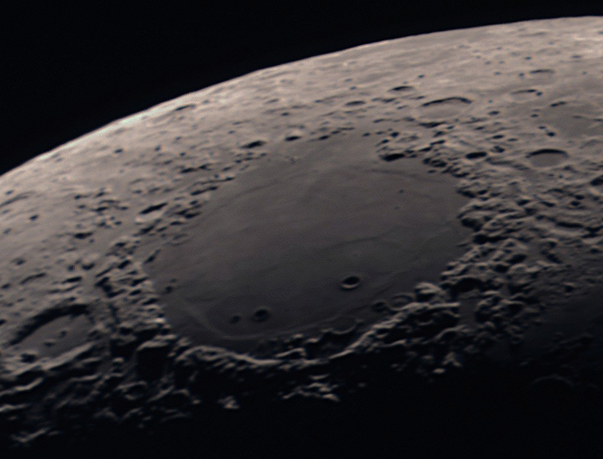 The Moon's Mare Crisium, captured with a GPCAM 290C, using a stack of 587 frames. Credit: Paul Money