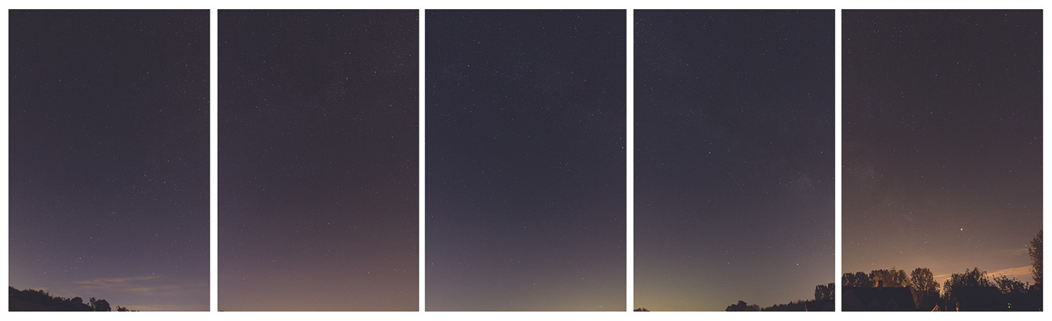A selection of overlapping photographs of the Milky Way, ready to be turned into a single image. Credit: Mary McIntyre