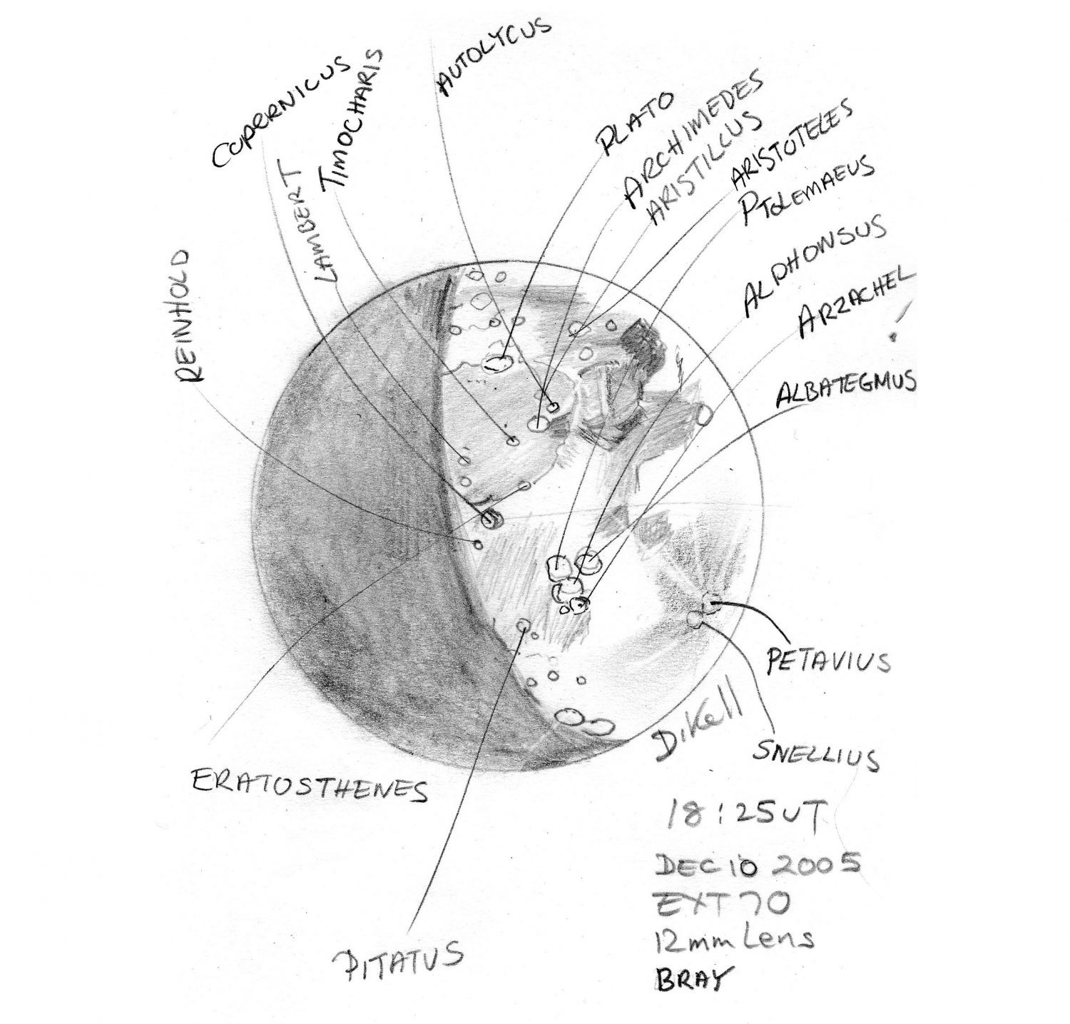 A lunar location sketches drawn from looking through a small telescope. Credit: Deirdre Kelleghan