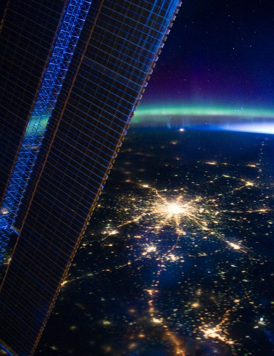 The aurora appears over Moscow, imaged by astronauts on board the International Space Station.