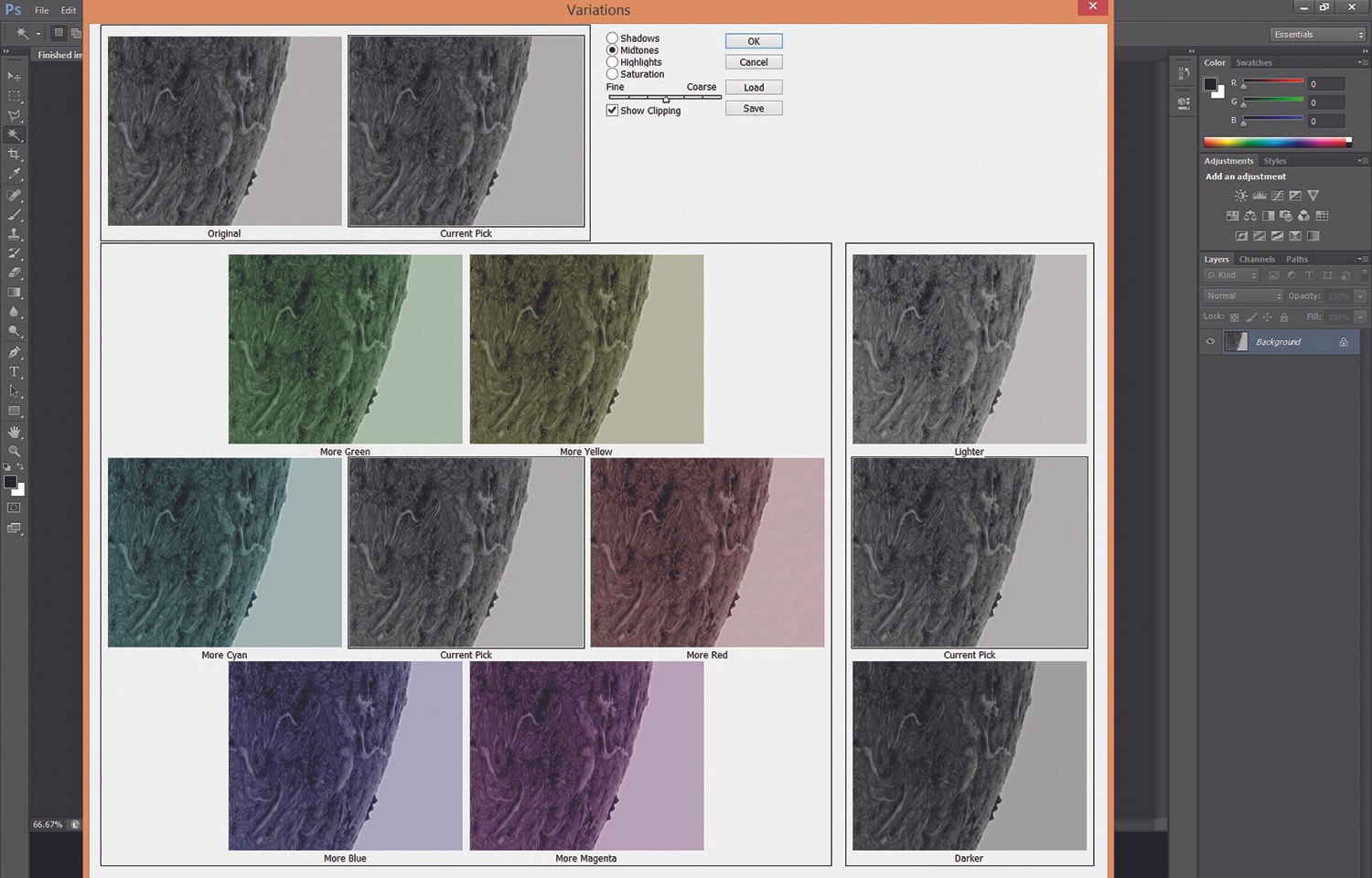 In Variations, click on a colour more than once to incrementally add more to your image. Credit: Gary Palmer