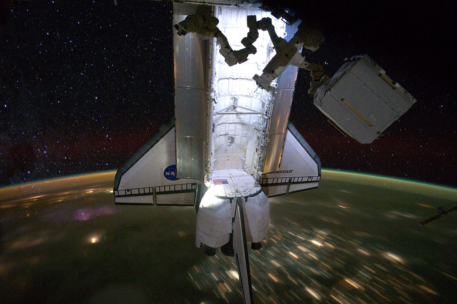 Space Shuttle Endeavour docked to the International Space Station. Credit: NASA