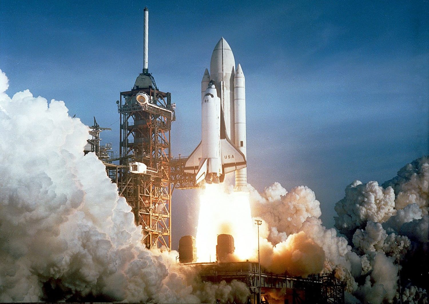 Space Shuttle Columbia during its first launch, 12 April 1981. Credit: NASA