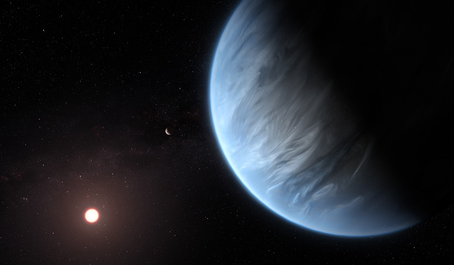 An artist's impression showing exoplanet K2-18b, its host star and an accompanying planet in this system. Credit: ESA/Hubble, M. Kornmesser