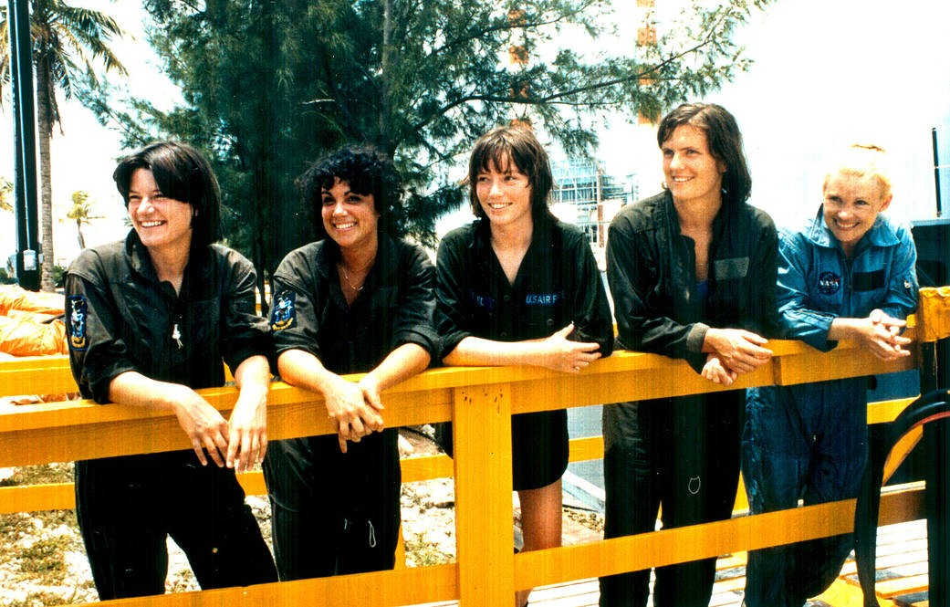 Left to right: astronaut candidates Sally Ride, Judith Resnik, Anna Fisher, Kathryn Sullivan and Rhea Seddon during in Florida in 1978. Credit: NASA