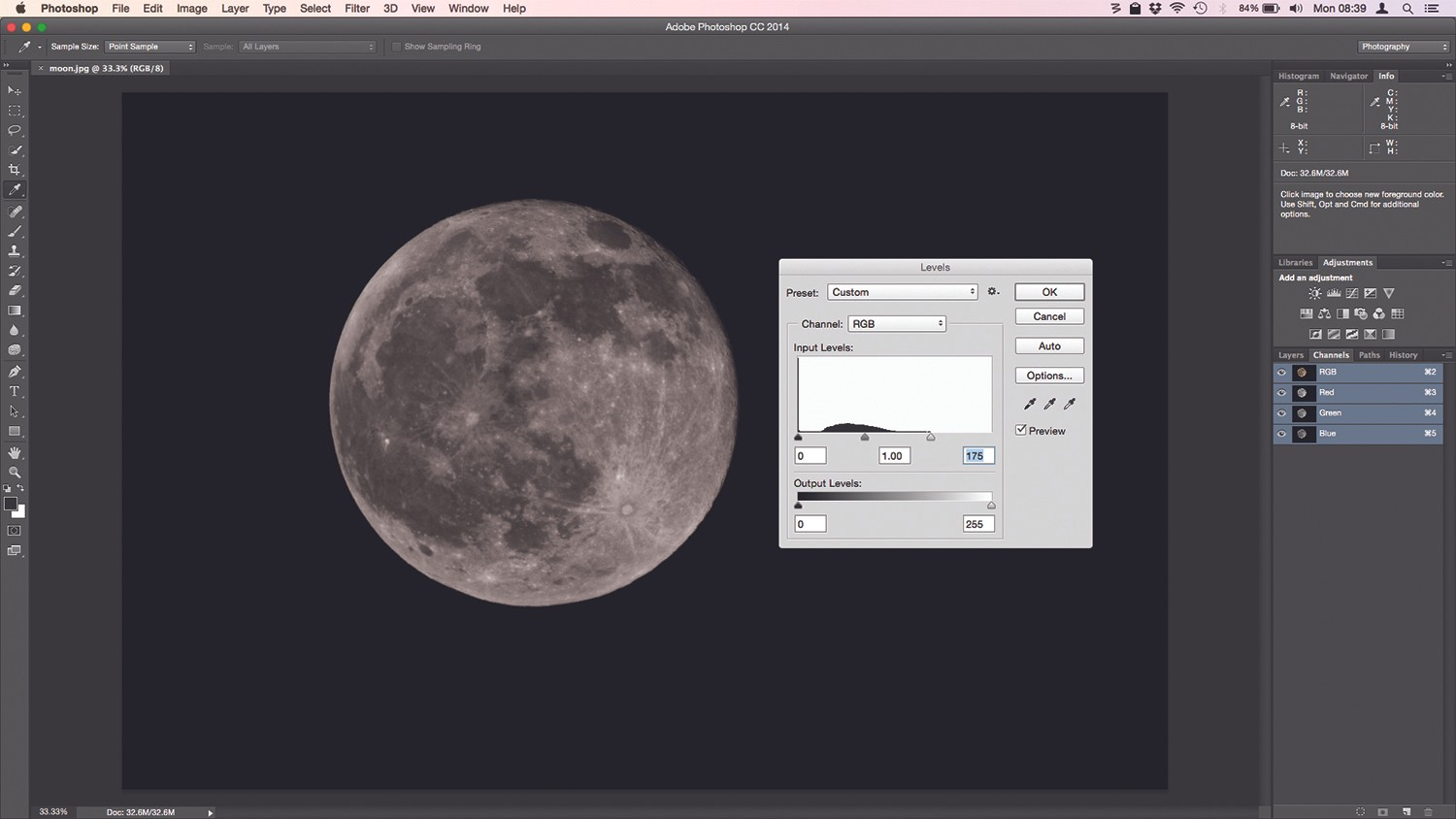 Þ Pulling the rightmost slider inwards brightens the lunar surface, but be vigilant of clipping. Credit: Ian Evenden
