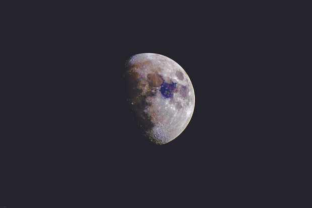 Ian's finished image is far more colourful than the Moon appears through an eyepiece. Credit: Ian Evenden