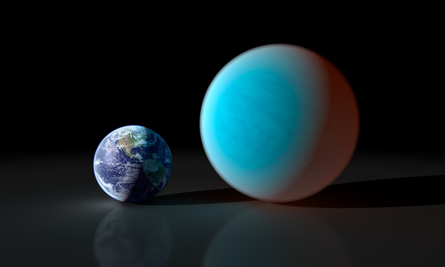 An artist's concept showing how exoplanet 55 Cancri e compares with Earth. 55 Cancri e has a mass 7.8 times and a radius just over twice that of our own planet, making it a 'super Earth'. Credit: NASA/JPL-Caltech/R. Hurt (SSC)