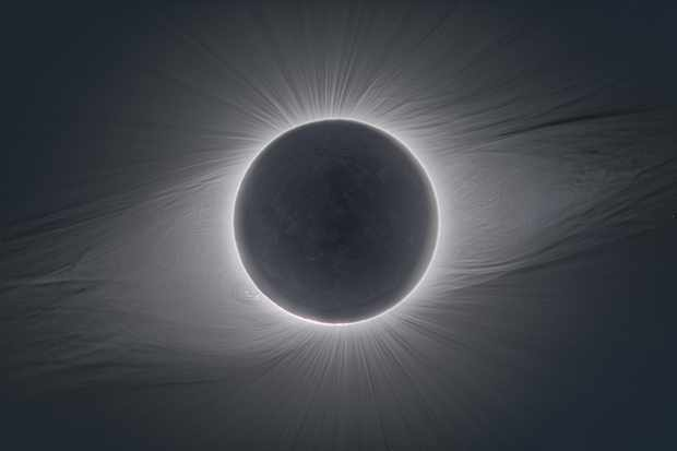 The solar corona visible during the total solar eclipse on 2 July, 2019, captured from ESO's La Silla Observatory in Chile. Totality will strike again in 2020. Credit: P. Horálek/ESO