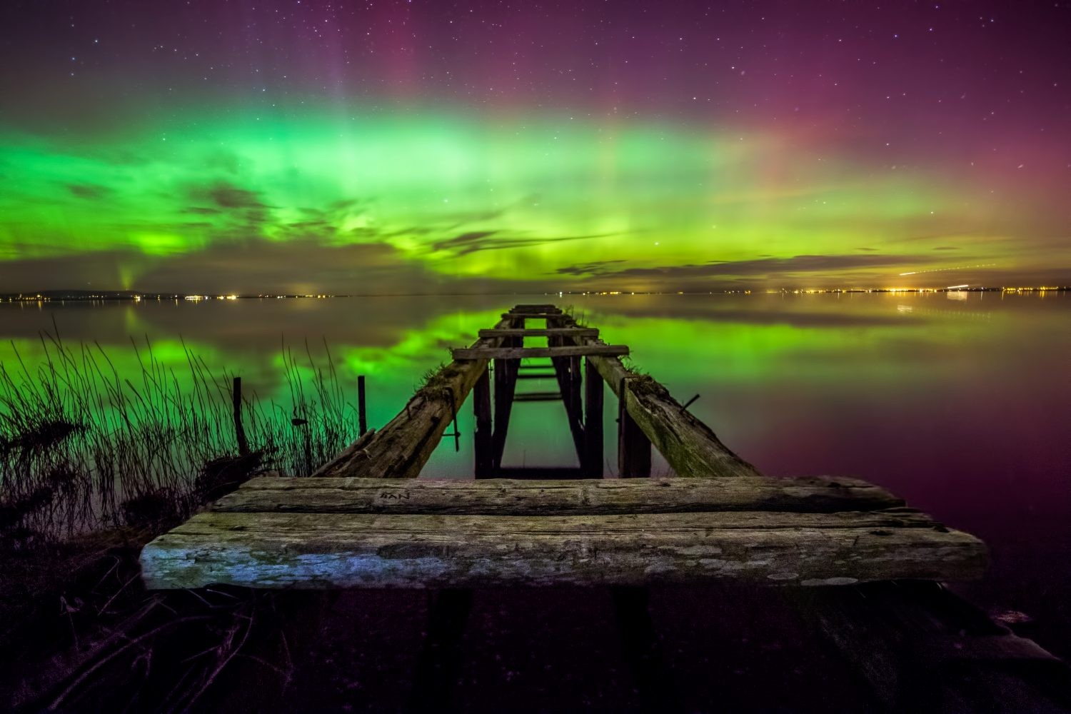 Aurora over Lough Neagh. Credit: Stephen Wallace/ Hibernia Landscapes