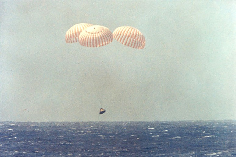 There was relief when Apollo 12's parachutes proved to be undamaged by the lightning strikes. Credit: NASA
