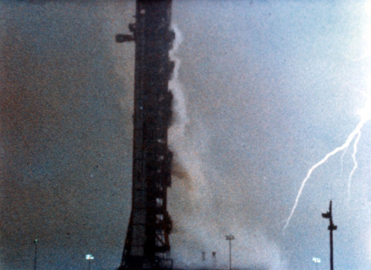 Lightning struck both the Apollo 12 rocket and the launch tower just after lift off. Credit: NASA