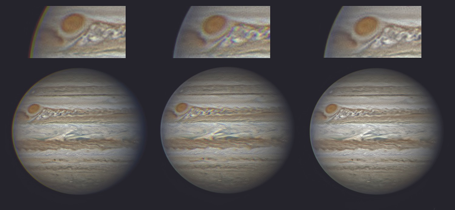 Left: the R, G and B images are aligned on the surface detail leading to colour fringing at the edges; Middle: the three are aligned similarly but registered to the edges leading to colour separation in the details; Right: both edges and detail are aligned via the Derotate RGB Frames function. Credit: Martin Lewis