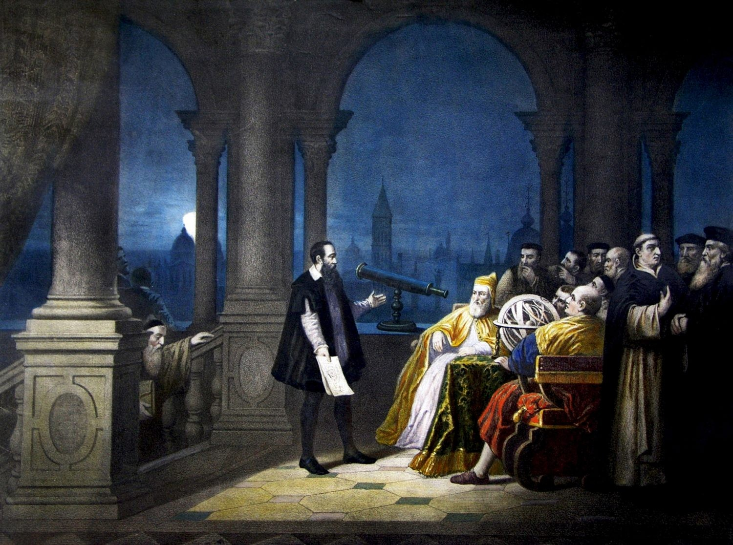 Galileo shows the Doge Leonardo Dona his telescope. From a painting by H. J. Detouche (Photo by Universal History Archive/Getty Images)