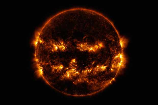 An image of the Sun that looks strikingly like a Halloween jack o lantern. This image was captured by NASA's SDO probe. Credit: NASA/SDO