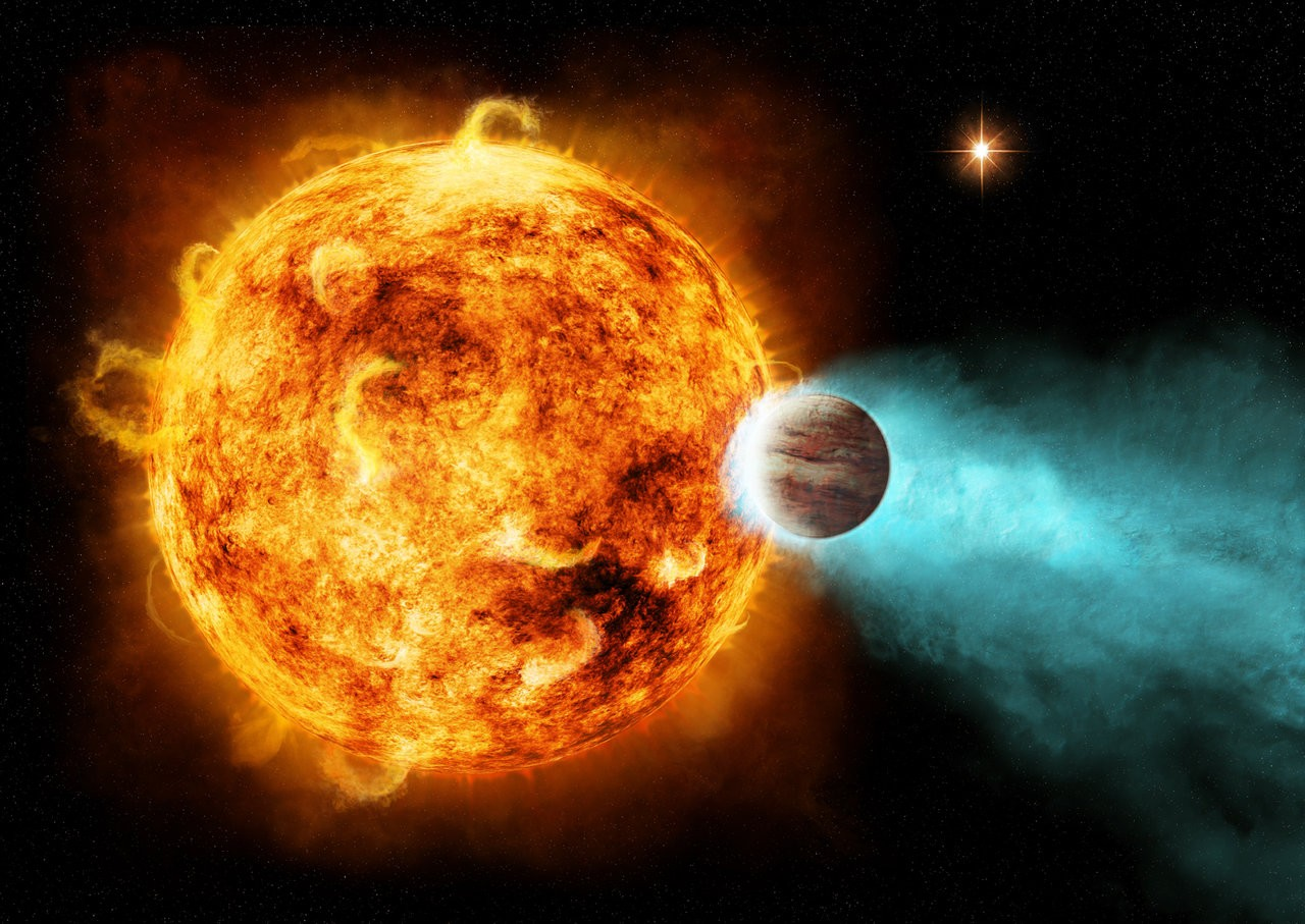 An artist's conception of a hot Jupiter. These are exoplanets similar to Jupiter in our own Solar System, but orbiting much closer to their host star. Credit: NASA/Ames/JPL-Caltech