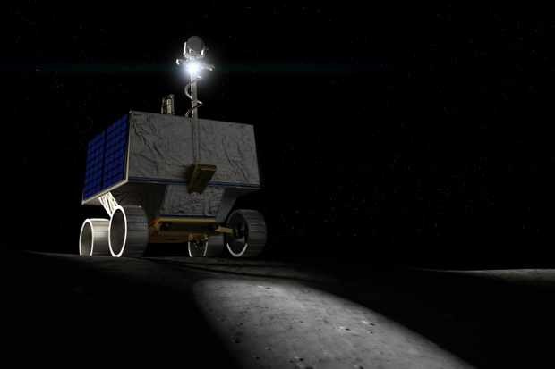 NASA's VIPER rover will search for water ice at the Moon's south pole. Credit: NASA Ames/Daniel Rutter