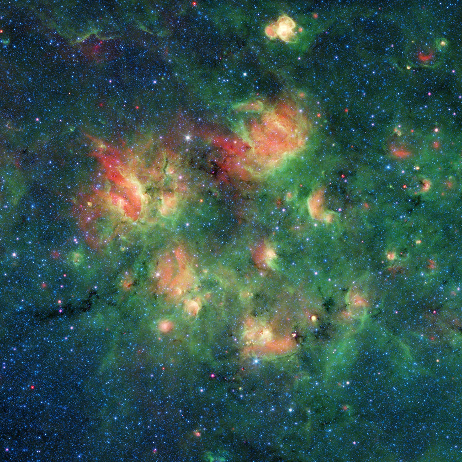 A Spitzer Space Telescope of a region within the Milky Way. Credit: NASA/JPL-Caltech/Milky Way Project