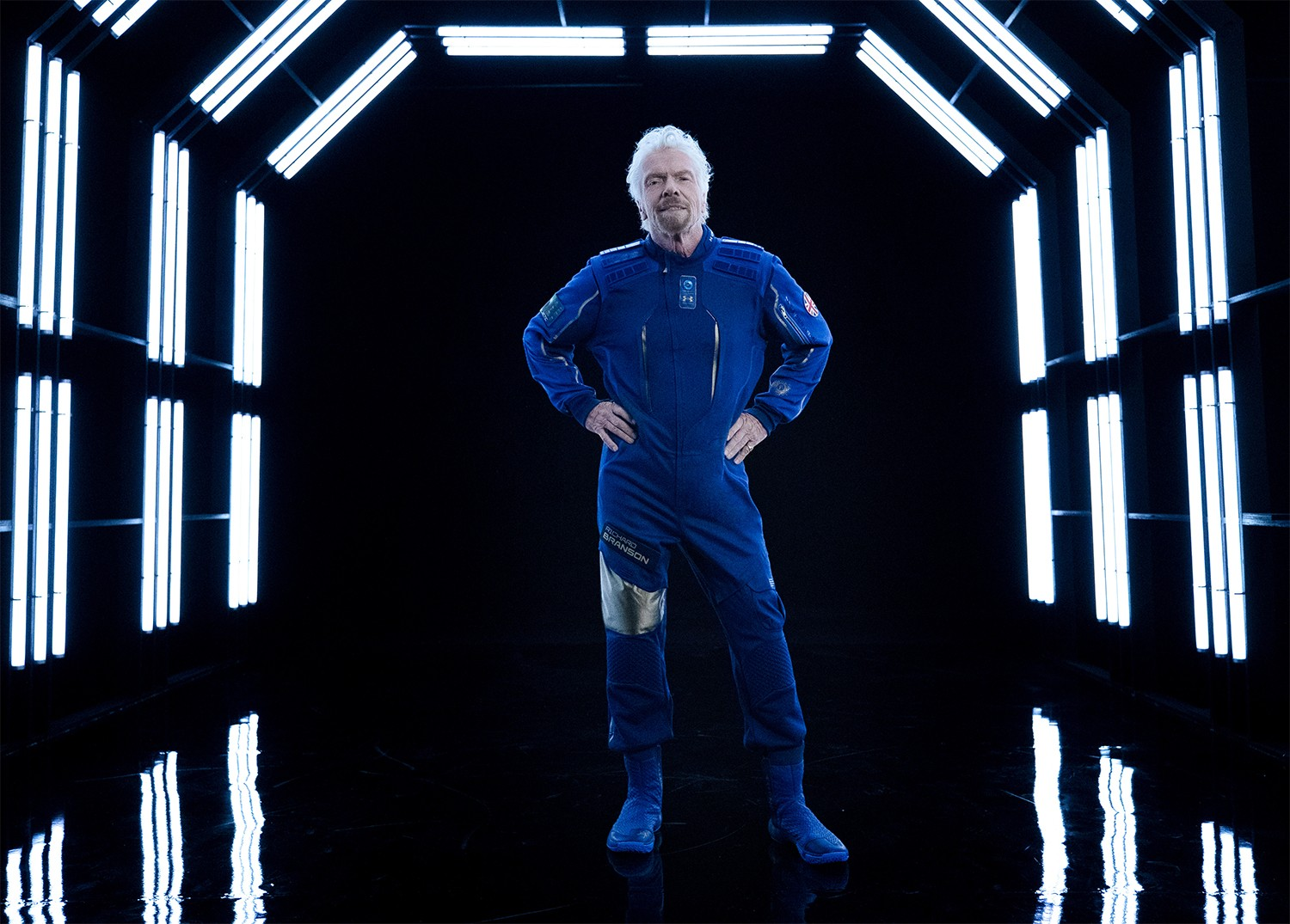 Virgin Galactic chairman Richard Branson models the company's new spacesuit, made in collaboration with Under Armour. Credit: Virgin Galactic