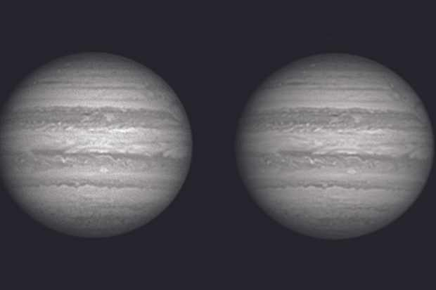 With traditional monochrome RGB imaging you have about three minutes to take videos for all three colours, which just gives time for one red image (left); the WinJupos Image Derotate facility increases that time period. The combined image on the right was made from four red videos captured over a 15-minute period and gives a much smoother and more detailed result. Credit: Martin Lewis