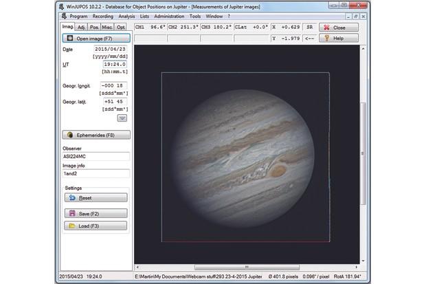 WinJupos derotate planetary images. Credit: Martin Lewis