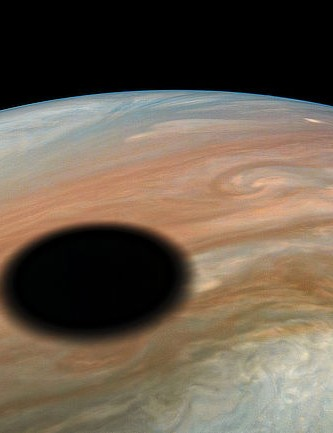 The moon Io's shadow cast on Jupiter, captured by Juno on 11 September 2019 Credit: NASA/JPL-Caltech/SwRI/MSSS / Kevin M. Gill, © CC BY 3.0