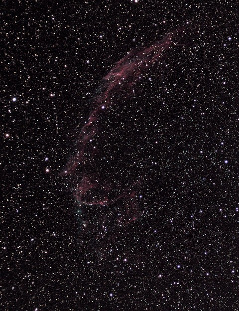 The Veil Nebula Dave McCracken, Lincolnshire, 26 August 2019 Equipment: Canon EOS 450D DSLR camera, Altair Starwave 70ED refractor, Sky-Watcher NEQ6 mount.