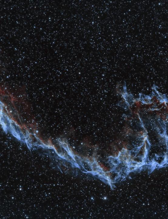 Eastern Veil Nebula, Alec Alden, Colchester, July and August 2019 Equipment: ZWO ASI 1600MM mono camera, Sky-Watcher Equinox 120ED refractor, Sky-Watcher EQ6 mount