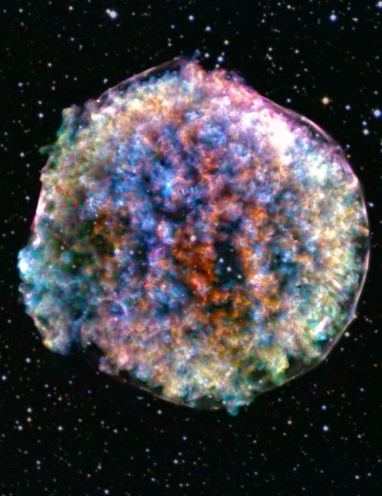 Supernova remnant Tycho Chandra X-ray Observatory and Sloan Digital Sky Survey, 17 October 2019 CREDIT: X-ray: NASA/CXC/RIKEN & GSFC/T. Sato et al; Optical: DSS