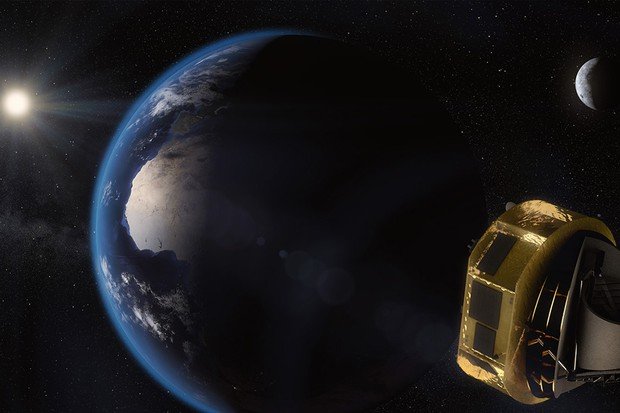 An artist's concept showing ARIEL in orbit. Credit: ESA/STFC RAL Space/UCL/Europlanet-Science Office