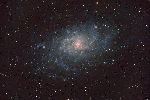 The final shot of M33, stacked from 13 two-minute exposures, after post-processing. Credit: Dave Eagle