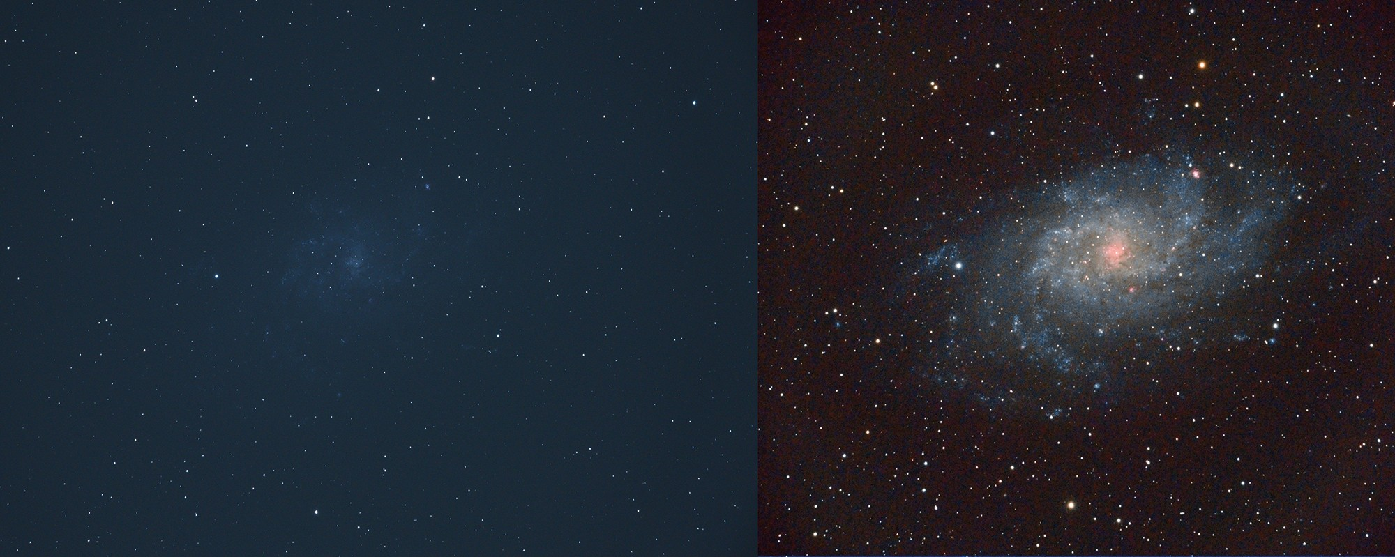 Left: a single frame of the Triangulum Galaxy, M33, before any editing; right: the same galaxy after a number of frames have been stacked. Credit: Dave Eagle