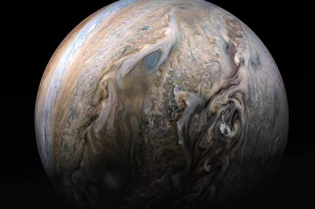 Jupiter's stormy atmosphere captured by NASA's Juno spacecraft. Credit NASA/JPL-Caltech/SwRI/MSSS/Kevin M. Gill.