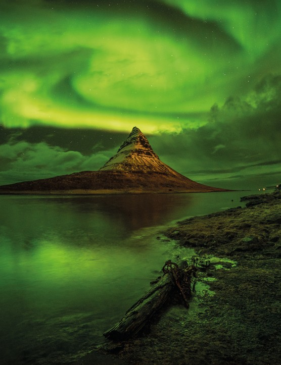 A dragon and the witch's hat Craig McDearmid, Kirkjufell Mountain, Iceland, 7 December 2018. Equipment: Sony a7S digital camera, Samyang 14mm lens, tripod