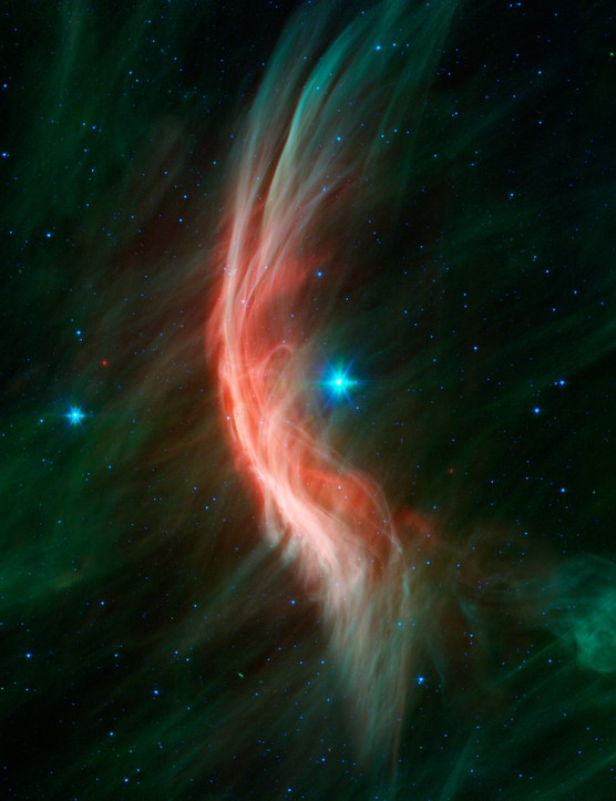 Zeta Ophiuchi Massive stellar winds from giant star Zeta (z)Ophiuchi cause ripples in its surroundings to generate a spectacular bow shock. Credit: NASA/JPL-Caltech