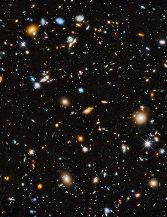 Hubble Ultra-Deep Field 3 June 2014 Virtually every point of light in this image is a galaxy, each composed of billions of stars. Credit: NASA, ESA, H. Teplitz and M. Rafelski (IPAC/Caltech), A. Koekemoer (STScI), R. Windhorst (Arizona State University), Z. Levay (STScI)