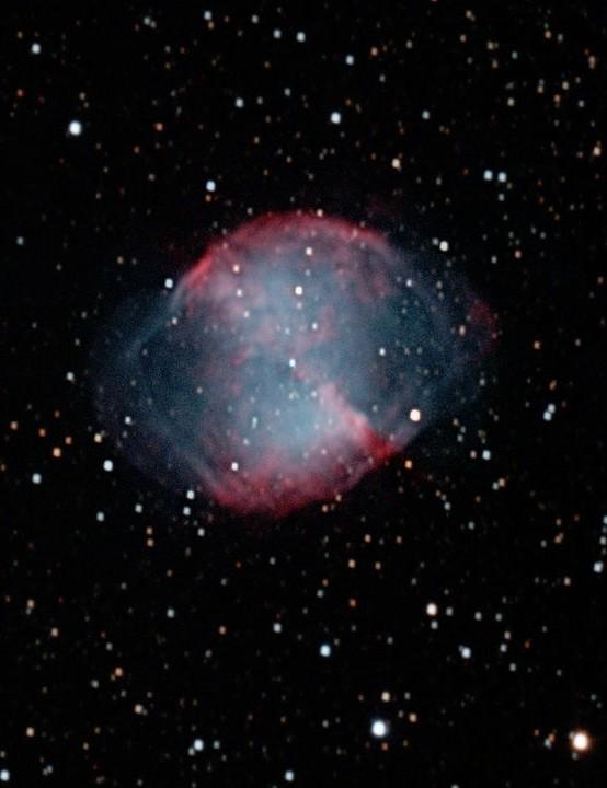 M27 Nebula Ivor Trueman, Leeds, 27 October 2019. Equipment: Canon EOS600D (astromodified), Sky-Watcher 200DPS Newtonian, Sky-Watcher AZ-EQ6 GT Pro mount
