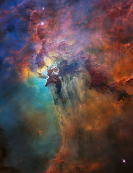 Lagoon Nebula 19 April 2018. This image shows only a small part of this turbulent star-formation region, about four lightyears across. Credit: NASA, ESA, STScI
