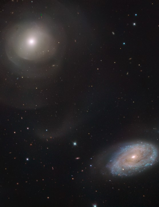 Galaxies NGC 470 and NGC 474, as seen by the Very Large Telescope. Credit: ESO